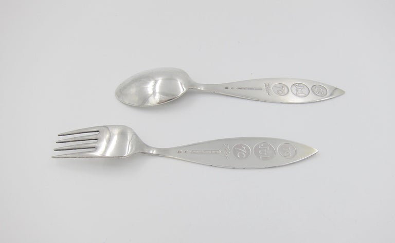 Late 20th Century Anton Michelsen Sterling Silver and Enamel Christmas Fork and Spoon Set, 1970 For Sale