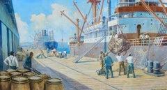 Dock Workers Unloading Freighter