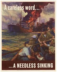 A Careless World ...A Needless Sinking original 1942 vintage World War 2 poster