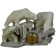 Anton Puchegger Large Polar Bear Ceramic Statue with Clock, Early 20th Century