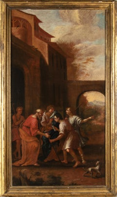 The Prodigal Son Large Figurative Oil On Painting Italian School of 18th Century
