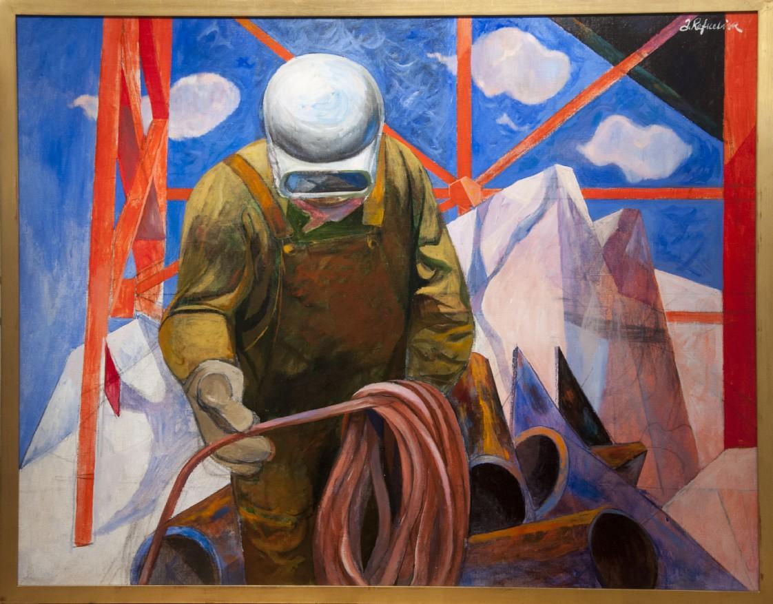"""Coulee Dam Construction"" WPA Precisionist Industrial Figurative American Scene"