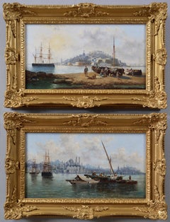 Pair of 19th Century seascape oil paintings of Malta & Constantinople (Istanbul)