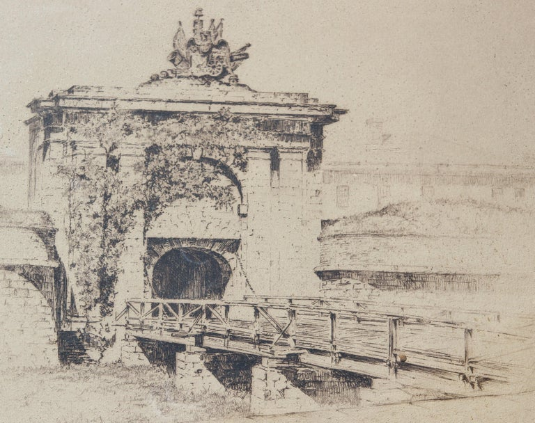 Etching of Fort Jay at Governor's Island from Three Hundred Years of NY Series - Print by Anton Schutz