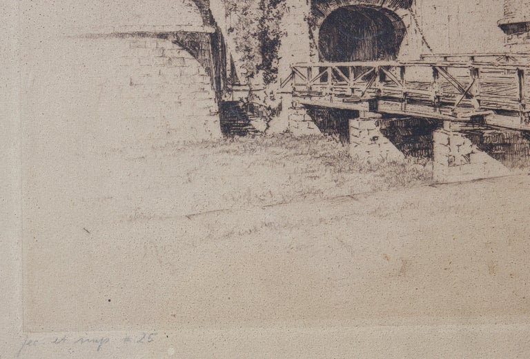 Etching of Fort Jay at Governor's Island from Three Hundred Years of NY Series - Naturalistic Print by Anton Schutz