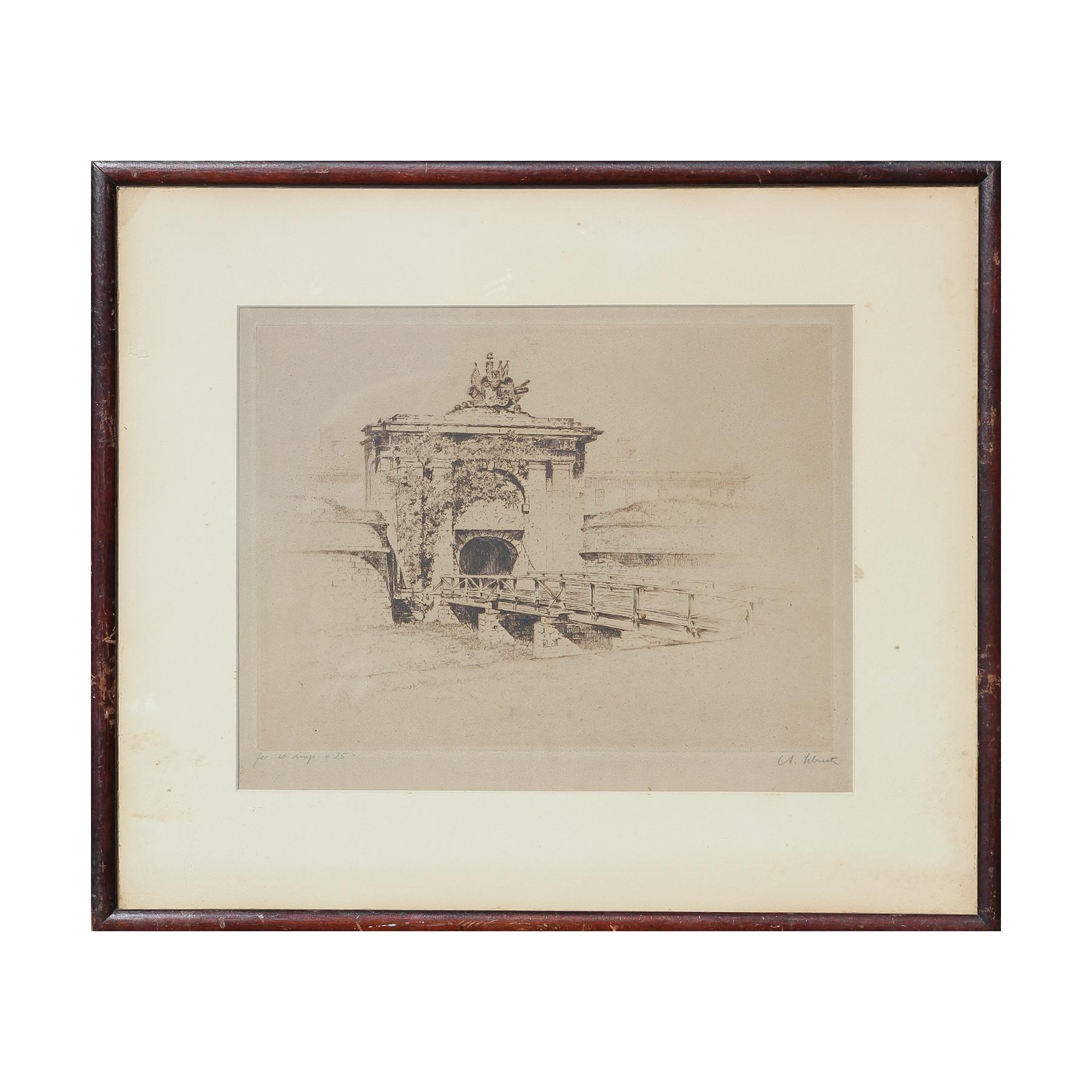Etching of Fort Jay at Governor's Island from Three Hundred Years of NY Series