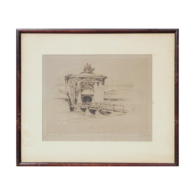Anton Schutz Abstract Print - Etching of Fort Jay at Governor's Island from Three Hundred Years of NY Series