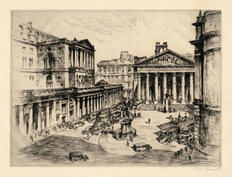 Six Vintage Etchings of European Stock Exchanges - Print by Anton Schutz