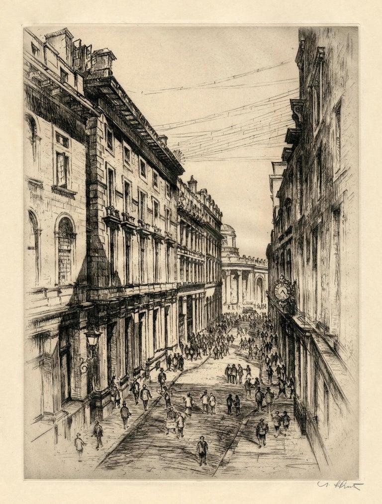 Six Vintage Etchings of European Stock Exchanges - Realist Print by Anton Schutz