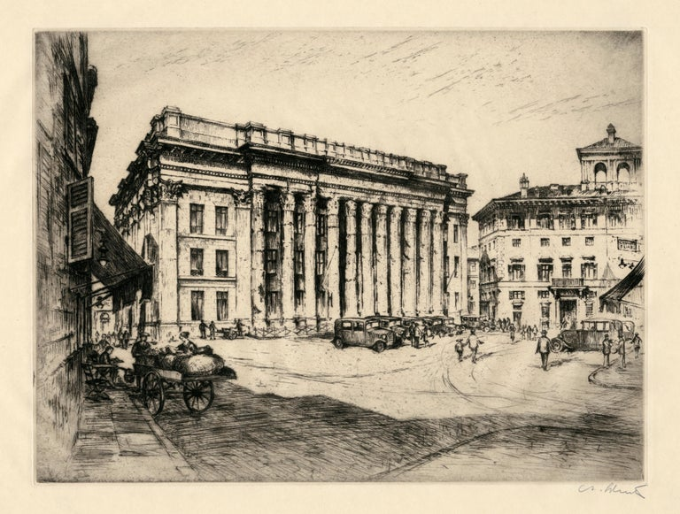 Anton Schutz, etchings of six European Stock Exchanges/Financial centers: Amsterdam Stock Exchange, Bank of London, London Stock Exchange, Milano Stock Exchange, Rome Stock Exchange, Paris Stock Exchange; c. 1930's, each signed and titled in pencil.