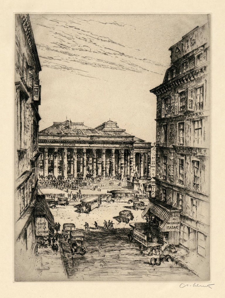 Six Vintage Etchings of European Stock Exchanges For Sale 1