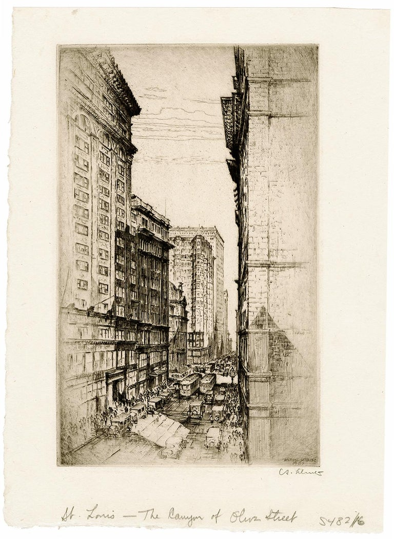 St. Louis, The Canyon of Olive Street — Early 20th century - Print by Anton Schutz