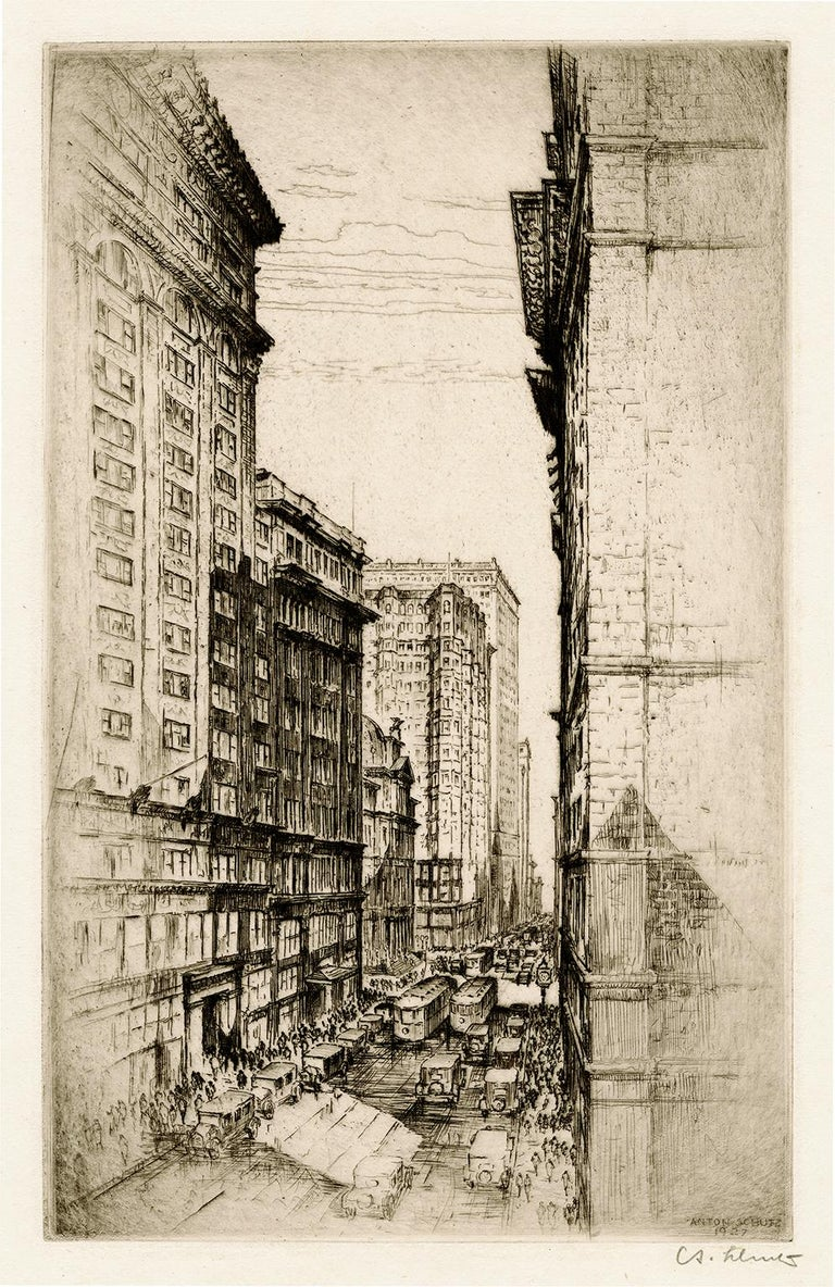 Anton Schutz Landscape Print - St. Louis, The Canyon of Olive Street — Early 20th century