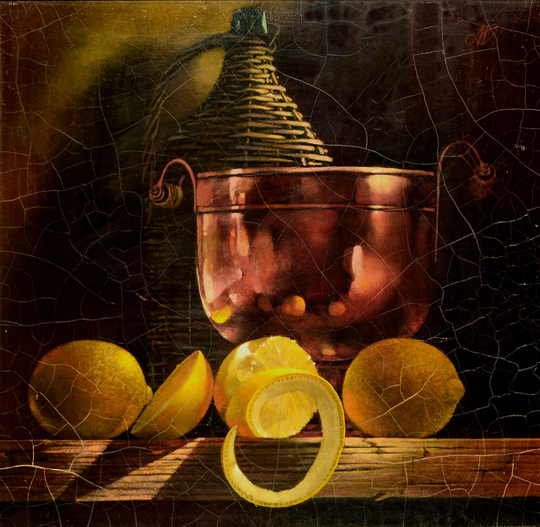 Mid Century Lemons & Copper Bowl Still Life