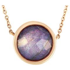 Antonellis 18 Karat Gold 0.13 Carat Diamond and Mother of Pearl Pendant Necklace