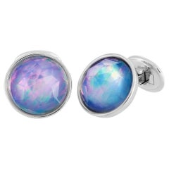 Antonellis 18 Karat White Gold and Mother of Pearl Cufflinks
