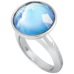 Antonellis 18 Karat White Gold and Mother of Pearl Ring