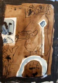 King with a pipe, Antoni Clavé, 1956, Olio on paper attached table