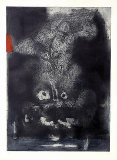 ANTONI CLAVÉ: Guerrero, Warrior Etching on paper hand signed Spanish abstraction