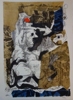 Man and Monkey - Original lithograph - Handsigned - 1966