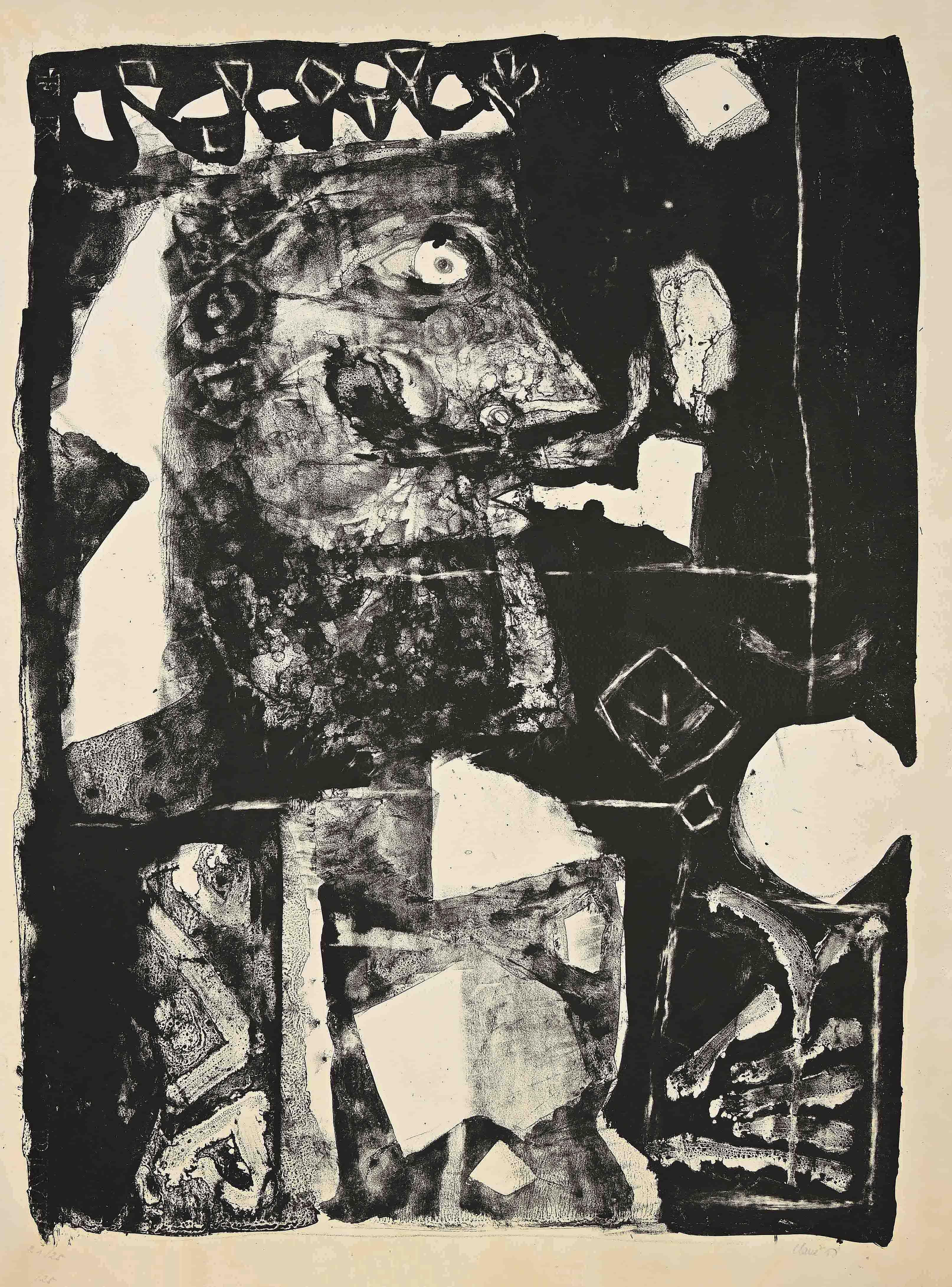 Man with pipe - Original Lithograph by A. Clavé - 1958