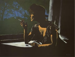 Kate in the Window-XXI Century, Nocturn Contemporary Figurative Oil Painting