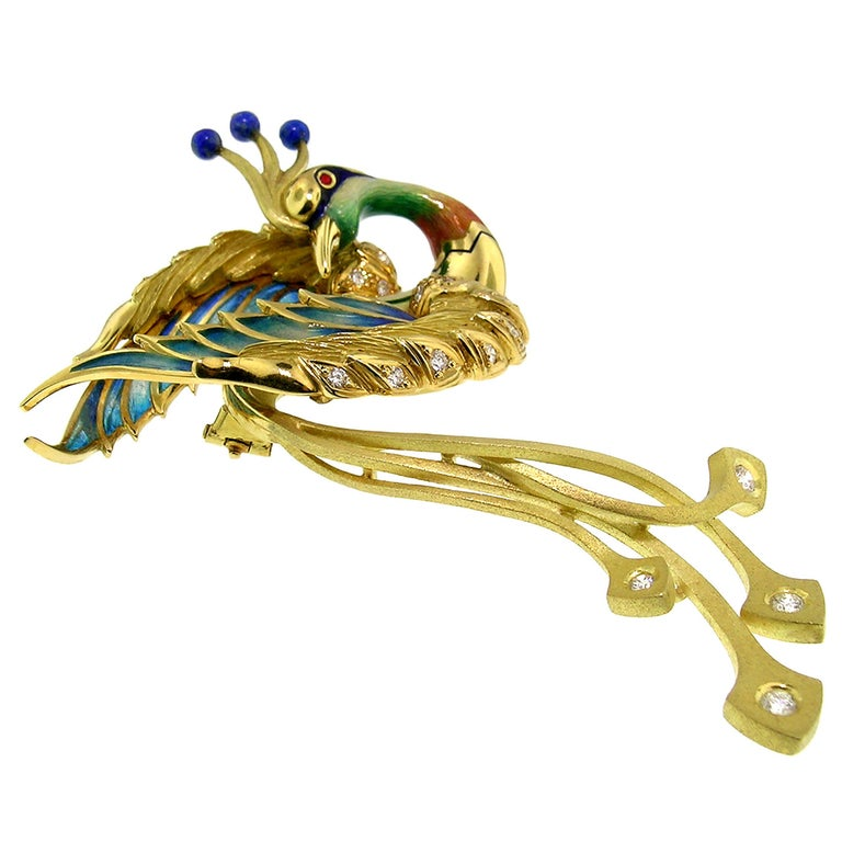 """Contemporary Antoni Farré """"Bird of Paradise"""" 18kt and Plique a Jour Brooch, Handmade in Spain For Sale"""