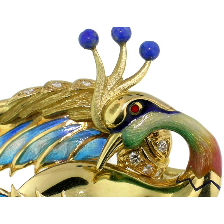 """Antoni Farré """"Bird of Paradise"""" 18kt and Plique a Jour Brooch, Handmade in Spain In Excellent Condition For Sale In Logan, UT"""