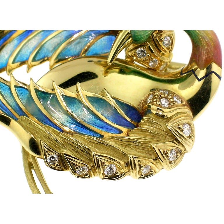 """Women's or Men's Antoni Farré """"Bird of Paradise"""" 18kt and Plique a Jour Brooch, Handmade in Spain For Sale"""