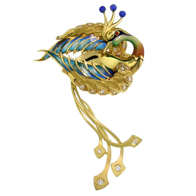 """Antoni Farré """"Bird of Paradise"""" 18kt and Plique a Jour Brooch, Handmade in Spain For Sale"""