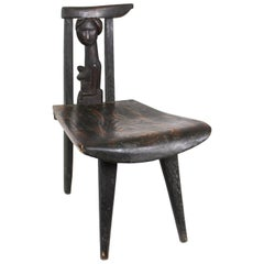 Antoni Rzasa Polish Folk Art Carved Wood Chair