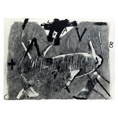 Antoni Tàpies Etching, Lletres i gris, 1976