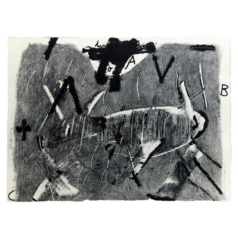 Antoni Tàpies Etching, Lletres i gris, 1976 For Sale