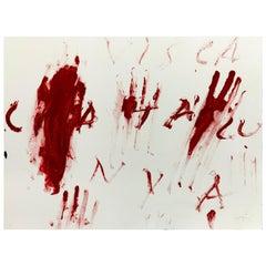 Antoni Tàpies Informalism Red Etching, Visca Catalunya, 1976