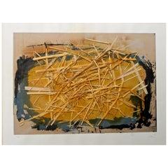 Antoni Tapies 'La Paille' 1969 Aquatint with Straw Collage