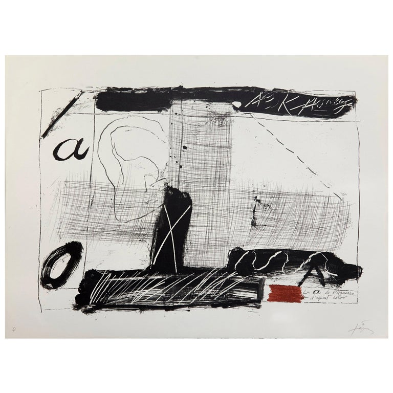 Antoni Tàpies Lithograph, Llambrec-2, 1975 For Sale