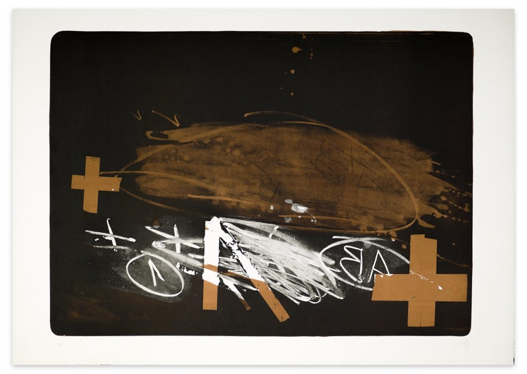 Antoni Tàpies Abstract Print - A Effacé - Original Lithograph by Antoni Tapies - 1976