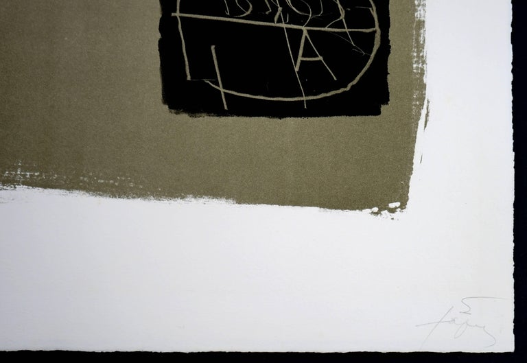Art 6 '75 - Black Abstract Print by Antoni Tàpies