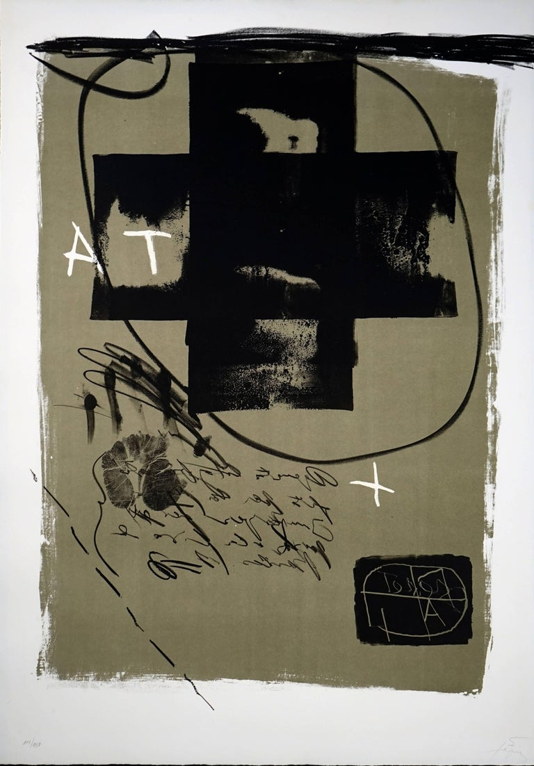 Artist: Antoni Tapies Title: Art 6 '75 Year: 1975 Medium: Lithograph Signed and numbered 114/150 bottom left with publisher's blindstamp In excellent condition.  Dimensions: 35.25 x 25 in Framed Dimensions: 43.25 x 34 x 1 inches  Beautifully framed