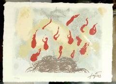 Cabellos y llamas - Original Lithograph After Antoni Tapies - 1987
