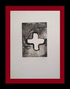 CREU SOBRE CAP  Original abstract  engraving painting