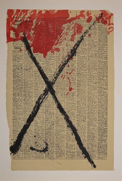Cross - Original Lithograph by Antoni Tàpies - 1968