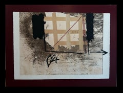 engraved with plastic collage and polychrome stamping abstract pàinting