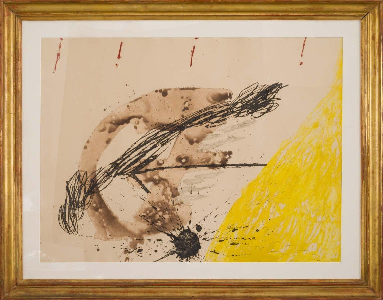 La Cometa - Etching in Yellow, Black, Braun and Red modern artwork Antoni Tàpies - Abstract Print by Antoni Tàpies