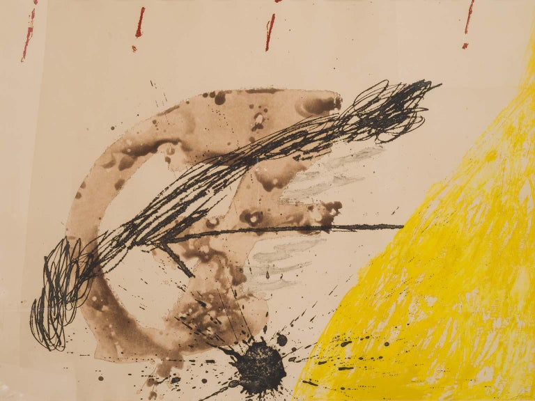 La Cometa - Etching in Yellow, Black, Braun and Red modern artwork Antoni Tàpies - Print by Antoni Tàpies