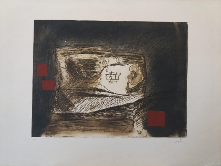 LLull i Tapies original engraving painting - Abstract Print by Antoni Tàpies