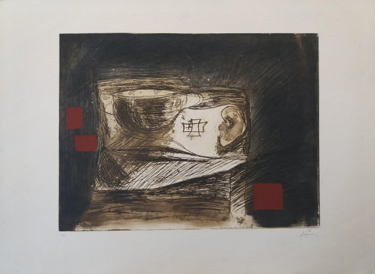 LLull i Tapies original engraving painting - Black Abstract Print by Antoni Tàpies