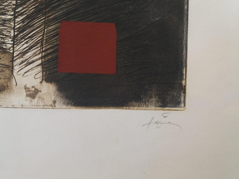 LLull i Tapies original engraving painting. virtual frame TÀPIES PUIG, Antoni (Barcelona, 1923-2012). Antoni Tàpies begins in art during the long convalescence from a lung disease. It will be devoted progressively more strongly to drawing and