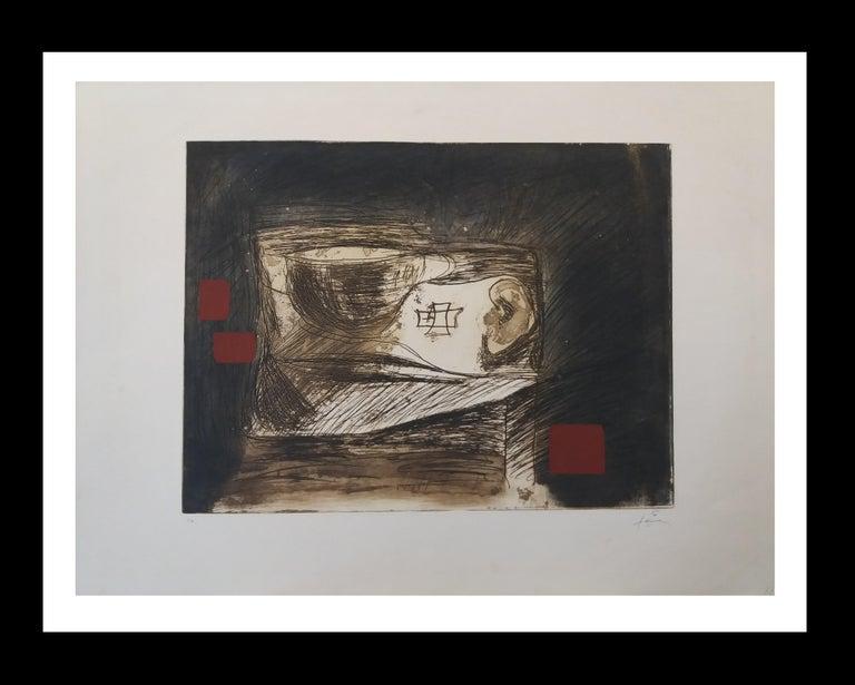 Antoni Tàpies Abstract Print - LLull i Tapies original engraving painting