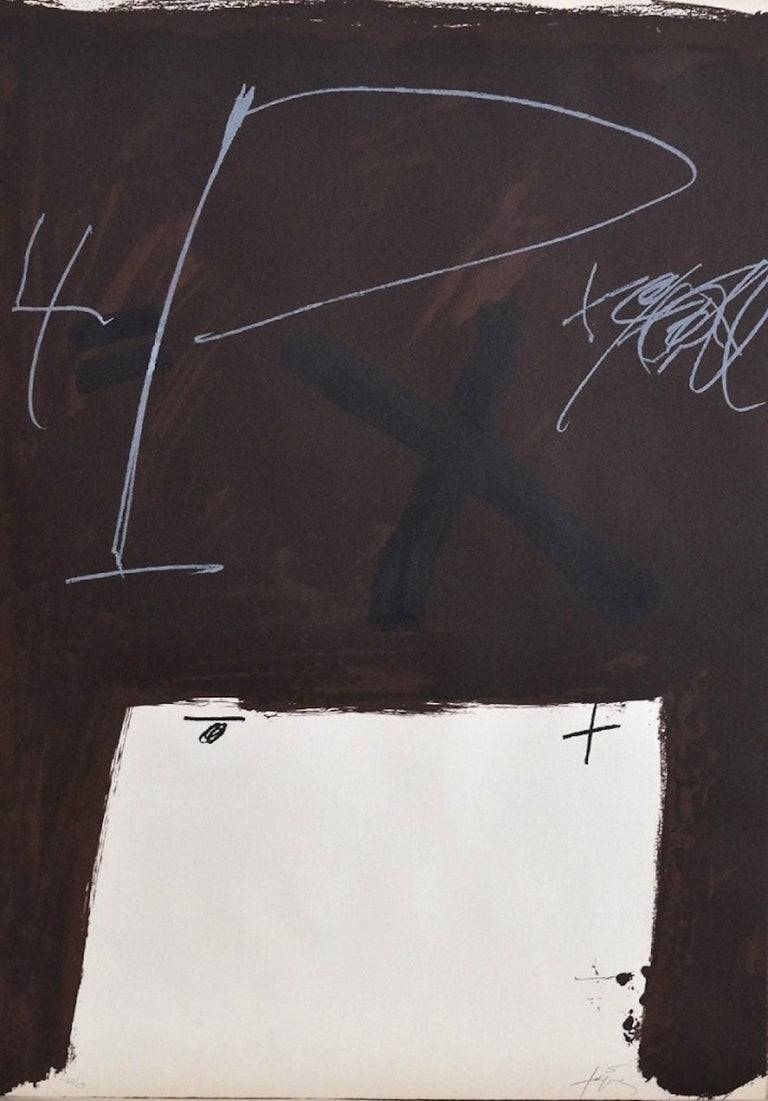 """This original artwork by Antoni Tàpies is one of the 10 colored lithographs of the """"Berlin Suite"""".  Tàpies realized this portfolio in 1974, each lithograph is on Arches wove paper.  Hand-signed and numbered by the artist. Copy n. 64 from an edition"""